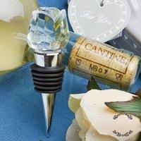 ingrosso scatola di cristallo-Crystal Roses Tappo per bottiglia di vino Bomboniere per vino Tappi per vino Con scatola regalo Regali per feste Regali di nozze per gli ospiti