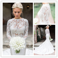 Wholesale plus size dresses manga resale online - 2018 Elegant Vestido De Noiva Manga Longa Mermaid Ivory Lace Wedding Dresses Sheer Neck Long Sleeves Wedding Gowns Bridal Wedding Dress