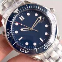 relógios profissionais venda por atacado-Mens de luxo Mecânico Profissional 300 m James Bond 007 Azul Safira Dial Automático Relógio dos homens Dos Homens Relógios de auto-vento relógios de Pulso