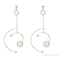 Wholesale tracking earrings resale online - Shaped like a star track earrings with cold wind hollowed out semicircle geometric earrings with zircon pearl earrings