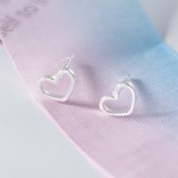 Wholesale hollow sterling silver heart earrings resale online - 100 Authentic Sterling Silver Heart Earrings For Women Hollow Heart Stud Earrings Personality Earings Fashion Jewelry