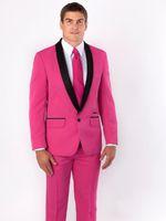 nueva marca rosa roja al por mayor-Brand New Rose Red Men Tuxedos de boda Black Lapel Groom Tuxedos Excelente hombre Blazer Traje de 2 piezas de baile / chaqueta (Chaqueta + Pantalones + Corbata) 2664