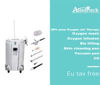 oxigênio terapia máquina de beleza venda por atacado-Profissional Oxigênio Jet Therapy Cuidados Com A Pele máquina de salão de beleza oxigênio peeling máscara de infusão de oxigênio BIO face lift remoção de rugas