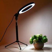 lâmpadas de mesa de anel venda por atacado-Pode ser escurecido led câmera do estúdio anel de luz da foto do telefone lâmpada de luz de vídeo com tripés selfie mesa anel de luz de preenchimento da mesa para canon