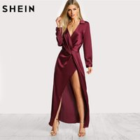 b54de3ab1ac SHEIN Burgundy Sexy Party Dress Satin Front Twist Wrap Dress Lapel Deep V  Neck Long Sleeve Split Maxi Shirt Dress Y190117