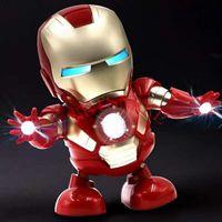Wholesale avengers electronic resale online - 2019 New Dance Iron Man Action Figure Toy robot LED Flashlight with Sound Avengers Iron Man Hero Electronic Toy kids toys