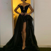 Wholesale sheath sweetheart lace evening dress for sale - Group buy Sexy Black Detachable Skirt High Low Evening Dresses Off the Shoulder A Line Sweetheart Party Gowns For Women Tulle Prom Cocktail Wear