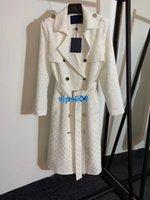jacquard trincheira venda por atacado-High end mulheres meninas de seda midi blusão jaquetas jacquard monograma trespassado manga comprida outerwear top quality moda trench coat