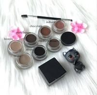 kahverengi göz jeli toptan satış-EPACK 10 Renkler Kaş Tonu Makyaj Su Geçirmez Pomad Jel Uzun ömürlü 3D Doğal Kahverengi Göz Kaş Artırıcı Krem Ile Fırça