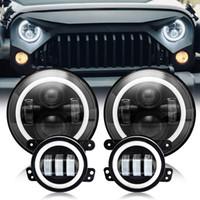 pulgadas de faros led redondos al por mayor-2 piezas de 7 pulgadas de faros LED redondos de luz de haz bajo alto Ojos de ángulo de halo + 2 piezas de luz de niebla de 4 pulgadas para Jeep Wrangler Off-Road 4x4