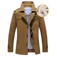 китай ветровка оптовых-Зимняя теплая куртка осень мужской бизнес траншеи повседневные хлопчатобумажные траншеи с отложным мужской ветровка сплошное пальто китай размер M-5XL