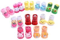 Wholesale pink blue baby socks for sale - Discount Months Cartoon Newborn Baby Girls Boys Anti slip Socks Slipper Shoes baby boots First Walker sapatilha infantil