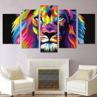 peça de lona colorida abstrata venda por atacado-Lona Cartaz Home Decor Wall Art unframework 5 Peças Pinturas de Leão Colorido Para Sala de estar HD Imprime Fotos de Animais Abstratos