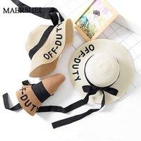 große elegante strohhüte großhandel-MAERSHEI 2019 Sommer Kinder solide Einfache elegante große Krempe Strohhut Baby Mädchen Beach Hats Sonnenhut