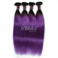 Wholesale human hair extensions gray resale online - 8A Purple Straight Hair Weaves Bundles Two Tone Ombre Color B Green Blue Gray Purple Brazilian Human Hair Extensions