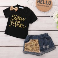 Wholesale toddlers girls clothes online - Summer Toddler Kids Baby Girl Letter Print T shirt Tops Sequins Denim Shorts Jeans Outfits Children Clothing Set