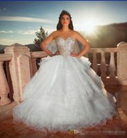 Wholesale diamond spring water for sale - Group buy Three Layers Ruffles Skirts Quinceanera Dresses For Sweet Girl Diamond Beaded Sequins Strapless Open Back Lace up Ball Gowns Prom Dress
