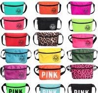 bolsos de cintura rosa al por mayor-Pink Fanny Pack Pink Letter Riñonera Riñonera Moda Playa Bolsas de viaje Bolsos impermeables Monederos Bolso cosmético al aire libre 26 colores