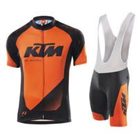 Wholesale team cycling jersey bib shorts set resale online - KTM team Cycling Short Sleeves jersey bib shorts sets uniform MTB Ropa Ciclismo mens Maillot Culotte D gel pad