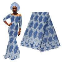 blaue afrikanische schnürsenkel großhandel-Hellblau Französisch Tüll 2019 Hohe Qualität Nigerianischen Tüll Stoff Für Nigerianischen Hochzeit Stickerei Afrikanische Spitze Stoff BF0007