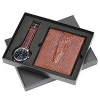 männlicher geschenkset großhandel-Herrenuhr Leder Uhrenarmband Herren Quarz Armbanduhr Geschenk für Vater Freund Brown Leather Wallet Geschenkset für Männer