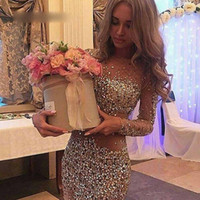 Wholesale sparkling long cocktail dress resale online - Sexy Luxury Cocktail Dresses Jewel Neck Long Sleeves Beading Short Prom Dresses Sheath Sparkling Birthday Party Gown Plus Size