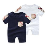 tulum banyosu için şort toptan satış-Yeni Yaz Bebek Kız Tulum Tasarımcı Çocuk Moda O-Boyun Kısa Kollu Tulumlar Bebek Kız Pamuk Romper Erkek Giyim