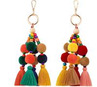 Wholesale new style car keys resale online - New Arrvial Tassel Keychain Car Bag Charm Boho Style Women Bag Pendant Jewelry Multicolor Handmade Key Chain Party Favor For Friends