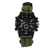Wholesale nylon cord rope resale online - 10in1 tactical watch Outdoor Paracord rope survival bracelet cord Watch Survival Gear compass whistle Reflector sos flashlight thermometer