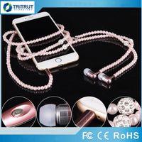 perlenkette kopfhörer großhandel-Kopfhörer MP3 Diamond Pearl Perlen in der Ohr-Halsketten-Kopfhörer mit Mikrofon Fashional Geschenk Mädchen-Telefon-Ohrhörer-Kopfhörer-Geschenk-Qualitäts-MQ50