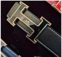 impresión digital jeans al por mayor-Carro de lujo de París con diseñador de la caja marca de moda Hebilla grande Cinturones de correa de cinturón de impresión de cuero genuino para hombre para mujer Jeans cintura