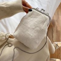 Wholesale vintage winter handbag resale online - Ins Hot Winter Plush Warm Crossbody Bags For Women Fashion Chain Clip Shoulder Messenger Bag Lady Phone Handbags And Purses