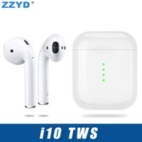 Wholesale Bluetooth Headphones - ZZYD Good Quality i10 TWS Wireless Bluetooth Headphones V5.0 Earbuds for iPhone fast shippment with Charger Box