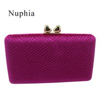 bolso de noche de embrague al por mayor-Nuphia Quality Velvet Evening Clutch Bags and Hard Case Box Clutch Evening Bags y Bolsos para mujeres Purple Fuschia # 744153