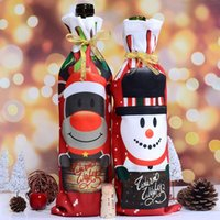 Wholesale bottle covers wedding for sale - Group buy Red Wines Packaging Pouch Multi Color Snowman Deer Christmas Wine Bottle Cover Dust Bag Party Table Decoration Hot Sale jl C R