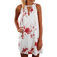 çiçek baskılı tunik toptan satış-Kadın Seksi Moda Kolsuz Çiçek Baskı Halter Boho Elbise Yaz A-Line Tunik Sundress Tatil Plaj Elbiseleri Sundress