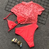 sexy trajes de baño rojos al por mayor-Traje atractivo del traje de baño rojo de cintura alta Mujeres Trajes de baño de las señoras recortada tres piezas Bikini de impresión Baño