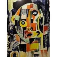kırmızı soyut sanat resimleri toptan satış-Renkli sanat yağlıboya tablolar modern soyut Souza Cardoso Kırmızı Okyanus Mavi El Yapımı