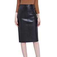 falda de un paso al por mayor-2019 Nuevo Faux Sheep Leather Fashion Office Lady One Step Faldas Mujeres Sexy Bolsa Hip Falda