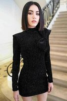 mini vestidos de fiesta de terciopelo al por mayor-Vestido Corto de Alta Calidad 2018 Otoño Nueva Moda Mujer Fiesta de Trabajo Sexy Vintage Elegante Elegante Dot Velvet Vestidos de Manga Larga