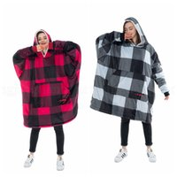 Wholesale super plus clothing for sale - Group buy Cozy Plaid Sherpa Hooded Blankets Colors Super Soft Comfortable Adults Hood Large Pocket Oversized Sweatshirts Home Clothing OOA6057