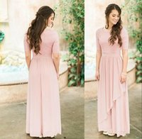 Wholesale plus size dress for fall wedding resale online - Cheap Country Pink Bridesmaid Dresses Chiffon Scoop Neck Lace Half Sleeves Long Floor Length For Wedding Plus Size Guest Dress Party Gowns