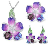 Wholesale beautiful butterfly rings for sale - Group buy Elegant Butterfly Flower Silver Enamel Jewelry Sets for Women Beautiful Red Stone Wedding Pendant Necklace Ring Earrings Sets