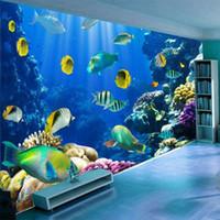 muralas subaquáticas 3d para paredes venda por atacado-Personalizado 3D Mural Wallpaper Underwater World Fish Coral Grande pintura de parede Sala Bed Room parede Home Decor Murais