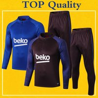 Wholesale long sleeve yellow tops kids resale online - Survetement Spain Barcelona Tracksuit Kids Mens Soccer Training Suit Top Quality Long Sleeve PRE MATCH Football Winter Pants kit