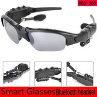 Wholesale headset french resale online - Smart Glasses Bluetooth V4 Sunglass Handsfree Sun Glass Sports Headset MP3 Player Bluetooth Phone Wireless Earphones Bluetooth Eyeglasses