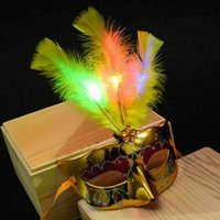 Wholesale pink feather mask resale online - Women Venetian LED Mask Masquerade Fancy Dress Party Feather Halloween Masks Hot Sale New Fashion Dropshipping
