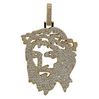 männer feste gold halskette kette großhandel-Solide Zurück Iced Out JESUS Christus Stück Kopf Gesicht Anhänger Halsketten Hip Hop Gold Silber Kette für Männer Frauen Schmuck