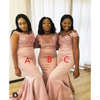 Wholesale african short dresses for wedding resale online - 2019 African Black Girls Pink Bridesmaids Dresses For Mixed Styles Sheer Neck Appliqued Sequined Long Wedding Party Maid of Honor Gowns