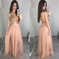 Wholesale rose gold dresses for sale - Group buy Rose Gold Sequins Long Bridesmaid Dresses Sexy Deep V Neck Backless Vestidos Cheap Prom Party Gowns